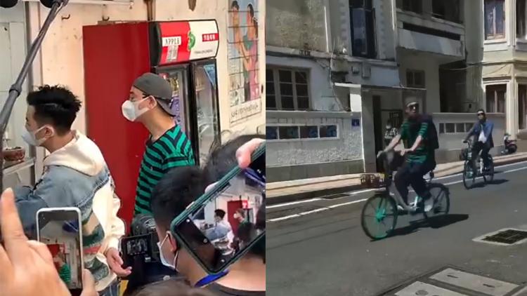 大湾区哥哥广州拍综艺,四人骑单车出行,陈小春依旧派头十足